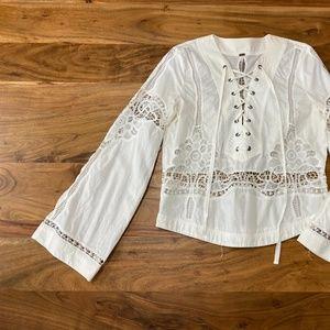 Free Peope White Lace Shirt